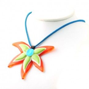 Vetrofuso by Daniela Poletti necklace blue red and green flower