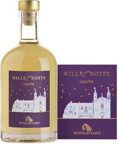 Donnafugata Grappa Mille e una Notte A distillate with deep golden hue, soft on the palate, unfolds a wide range of aromas, revealing notes of dried, toasted, cooked fruit which alternate with notes of honey and vanilla. - +794503 SPEC