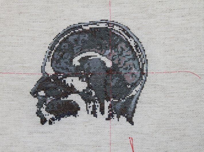 Self Portrait; Artist's Brain Cross stitch on aida cloth, 2010 370 x 450mm