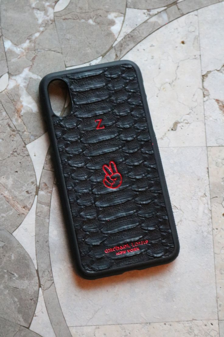 iPhone X Case style in Black Python, personalized with 'Z' and Peace Sign '✌️' Emoji in Red.   Personalize your own, https://michaellouis.com/collections/leather-iphone-x-cases