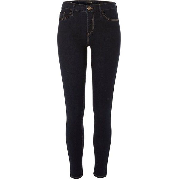 River Island Dark blue wash Molly jeggings ($80) ❤ liked on Polyvore featuring pants, leggings, blue, jeans, jeggings, women, jeggings leggings, jean leggings, denim pants and zip pants
