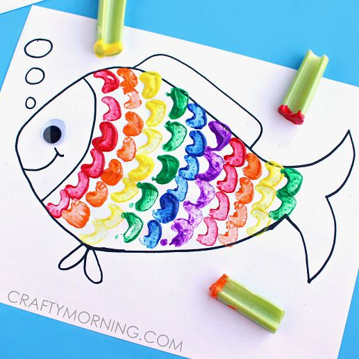 Make a rainbow fish using celery as a stamp! It's a fun ocean craft for kids to make.