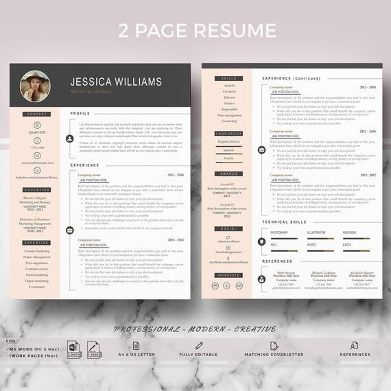 Resume Template With Photo Curriculum Vitae Cv Cover Etsy Lebenslaufvorlage Lebenslauf Anschreiben Vorlage