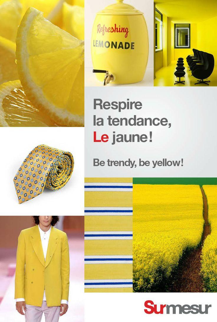 Le jaune: Rehaussez les beiges, les blancs et les bleus avec comme couleur accent le jaune. N'hésitez pas à vous procurez une veste de cette couleur ensoleillée. Vous serez surpris de la versatilité. -- Le jaune: Bring the sun to your outfit by adding a yellow item to it. Don't be scare to go with yellow pants or a jacket. You'll be surprised by its versability. Visit: surmesur.com #Spring #Summer #2014 #SS14 #Trends #Fashion #menswear #men #yellow