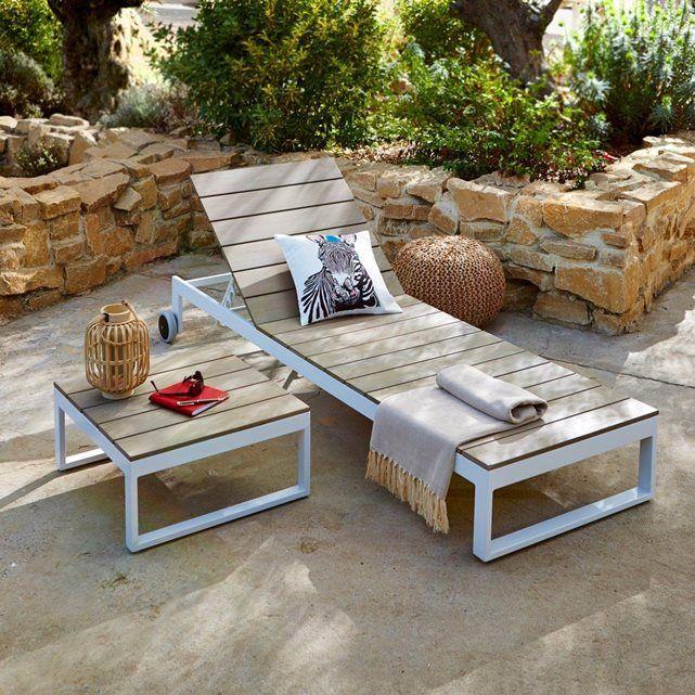 Le bain de soleil en polywood, Admer : un design moderne et très tendance, alliant bois de synthèse et aluminium. De plus, il est écologique, car le bois synthétique est constitué de matériaux recyclés.