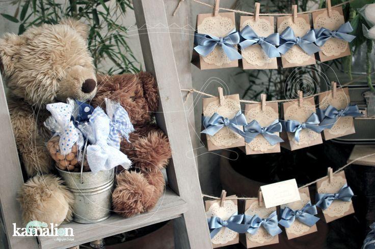 www.kamalion.com.mx - Mesa de Dulces / Candy Bar / Postres / Evento / Blanco & Azul / White & Blue / Vintage / Rustic Decor / ...