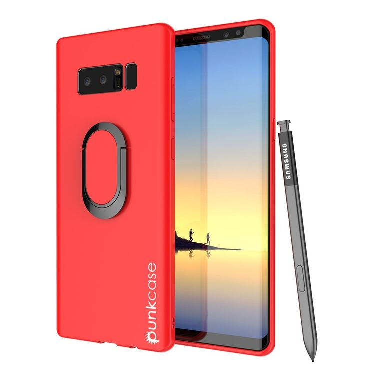 Galaxy Note 8 Case, Punkcase Magnetix Protective TPU Cover W/ Kickstand, Screen Protector [Red]