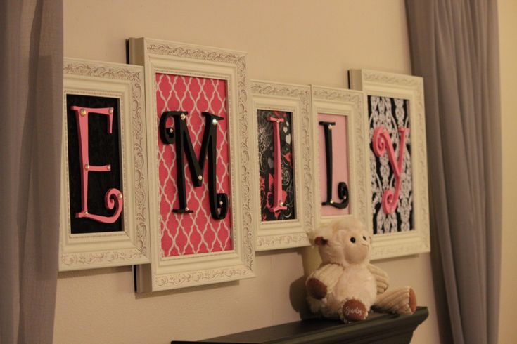 This would be cute in the entry way with a last name instead of the abc's you could have guests decorate the letters of the babys name