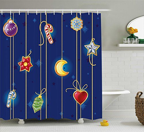 Watercolor Cute Deer Design Shower Curtain Mat Set Moon Snowflake Leaves Forest Antler Long Bath