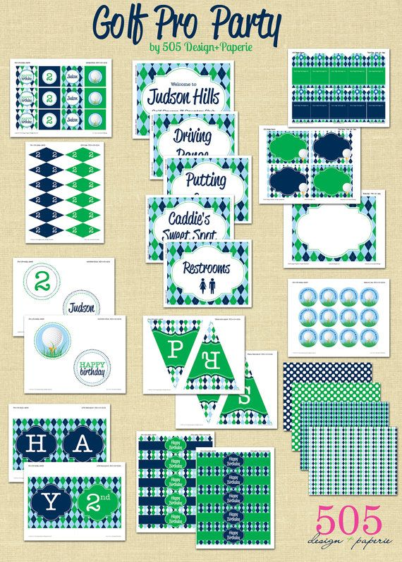 Golf Party blue and green printables set #golf #party