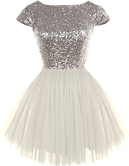 Dream State Dress: Features a sparkling silver sequin bodice framed by angelic cap sleeves, graceful V-design to the rear crowning a hidden zip closure, and a ballerina-inspired white tulle skirt to finish.
