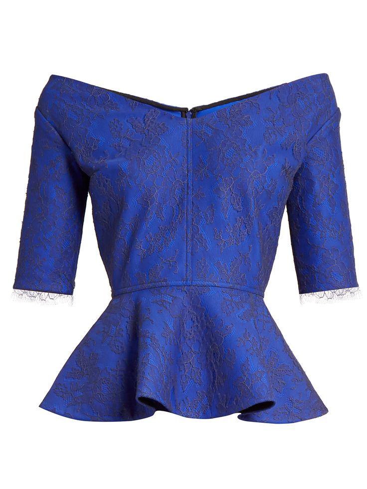 Click here to buy Emilio De La Morena Lace-overlay peplum-hem top at MATCHESFASHION.COM