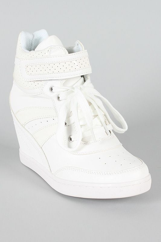 Soda Calty-S Patent Lace Up Wedge Sneaker