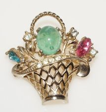 Estate Vintage Coro Gold Tone Green Jelly Belly Fruit Flower Basket Brooch Pin