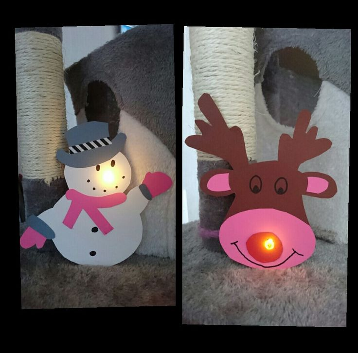 Snowman and reindeer with Tea Light Led.