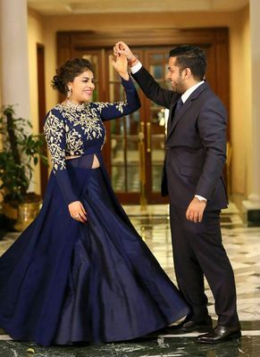 New Navy Blue Color Tapete Silk Designer Lahengah Choli By Adorn Fashion Lehengas