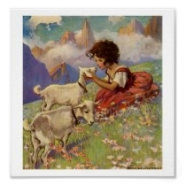 "Illustration by Jessie Willcox Smith- ""Heidi and Her Goats"""