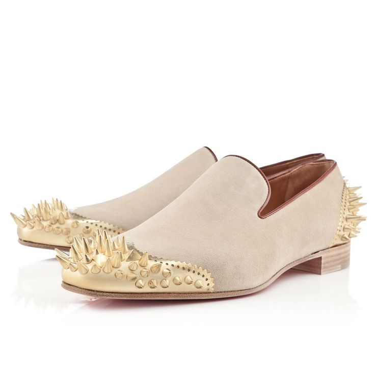 Christian Louboutin Mens Ironito flat sand crosta Loafers. Red Bottom ...