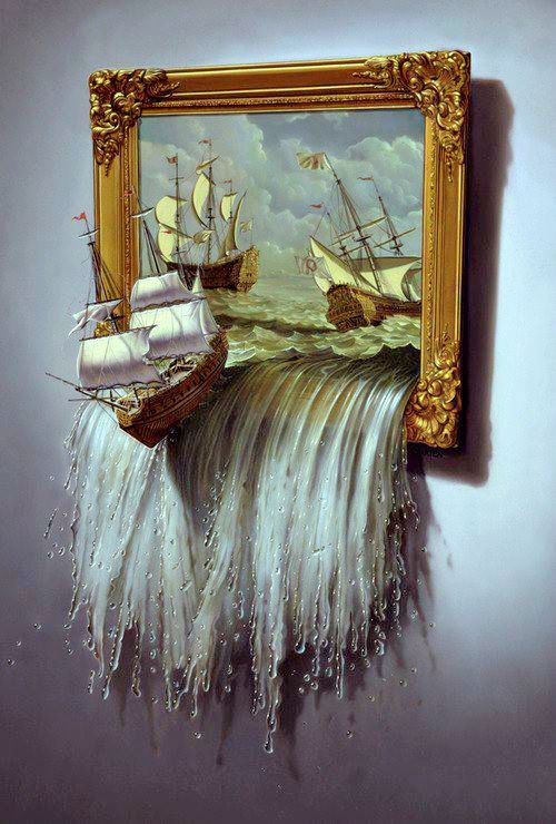 Water spilling out of the painting.