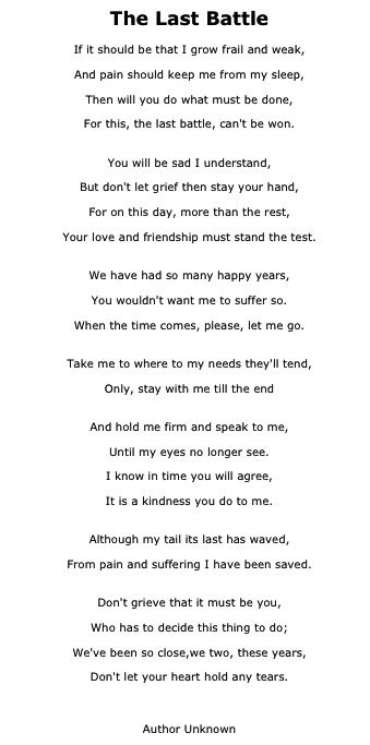 "This poem was given to me after the loss of my sweet boy ""Duff"" It brings tears to my eyes every time I read it. There is so much truth to this poem."