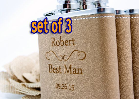 3 Personalized Groomsmen gifts, Three Leather Engraved Flasks 6oz for Groom, Best Man, Groomsmen, Hip Flask SET OF 3 - CLASSIC