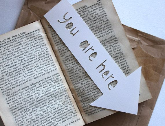 you are here Bookmark Handmade paper cut by emmarosedaniels, $3.16