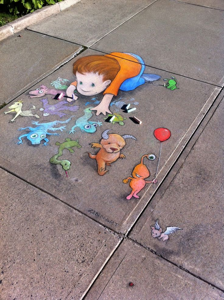 street art by David Zinn (September 11, 2011)