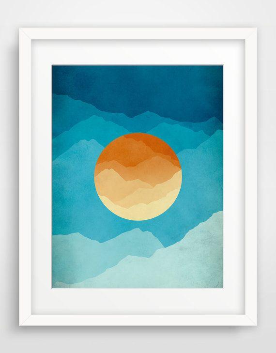 Blue and Orange Midcentury Art, Modern Art, Large Wall Art, Mountains, Abstract Art