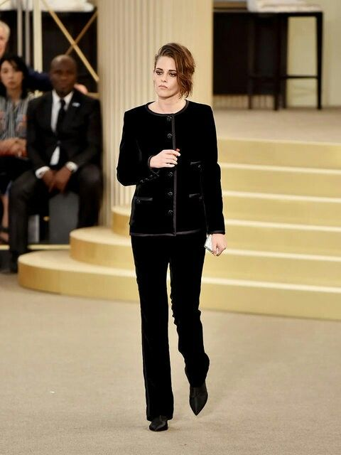 Kristen Stewart giving her famous disinterested look as she walks for Chanel. This girl can make even Chanel look normcore