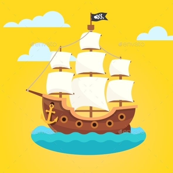 Pirate Ship With White Sails And Black Scull Flag Vector Illustration EPS