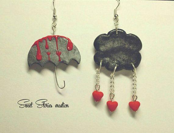 Heart rain umbrella earrings    Valentine by SweetStoriesCreation
