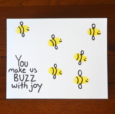 """""""You Make Us BUZZ With Joy"""": Fingerprint Bees Fathers Day Card"""