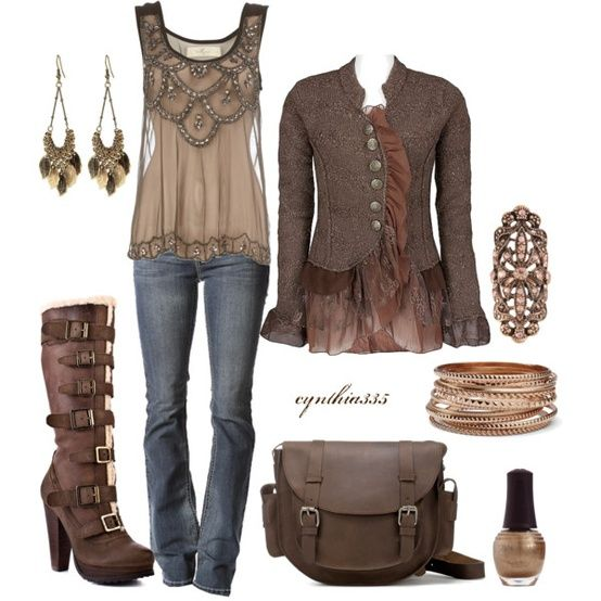 Fall look. LOVE those boots!