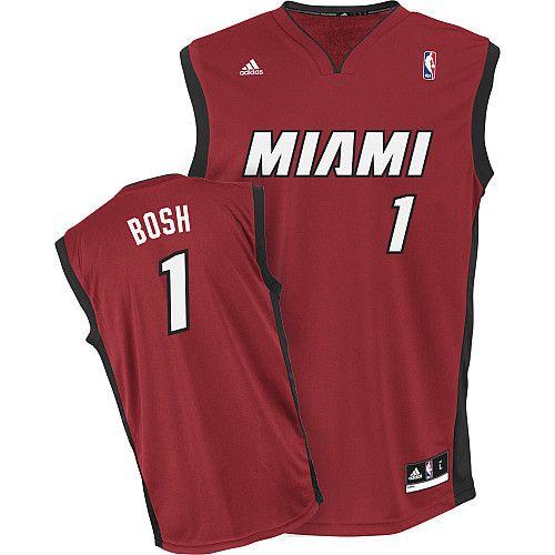 Miami Heat Chris Bosh 1 Red NBA Authentic Jersey Sale