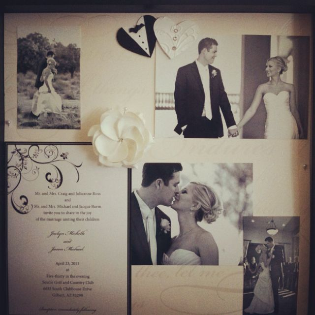 Wedding Shadow Box Ideas - Include invitation, photos, and decorative scrapbook accents as momentos of your wedding.