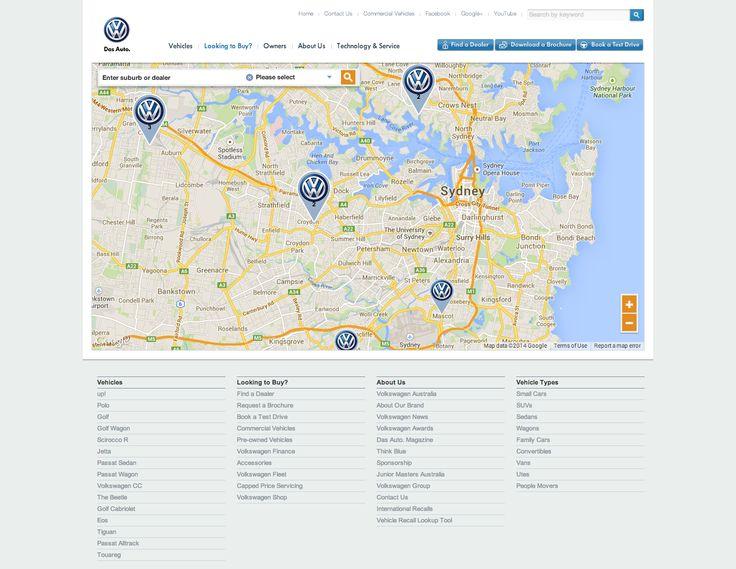 Project: Volkswagen.com.au Find a Dealer, Google API integration and data integration of Australia-wide dealership network. Role: Producer. Agency: Tribal DDB.