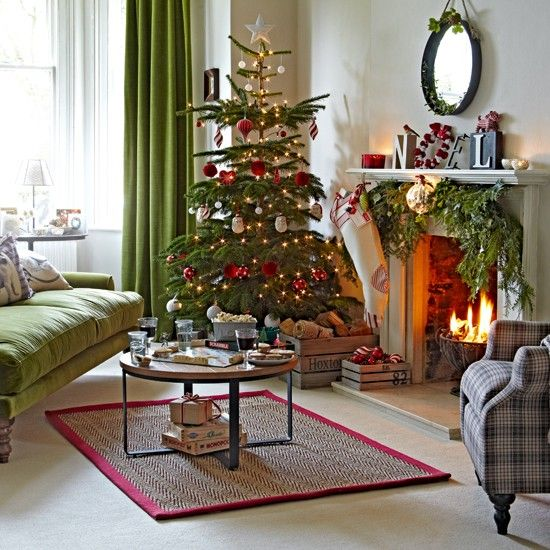 54 best christmas living rooms images on pinterest Christmas decoration in living room