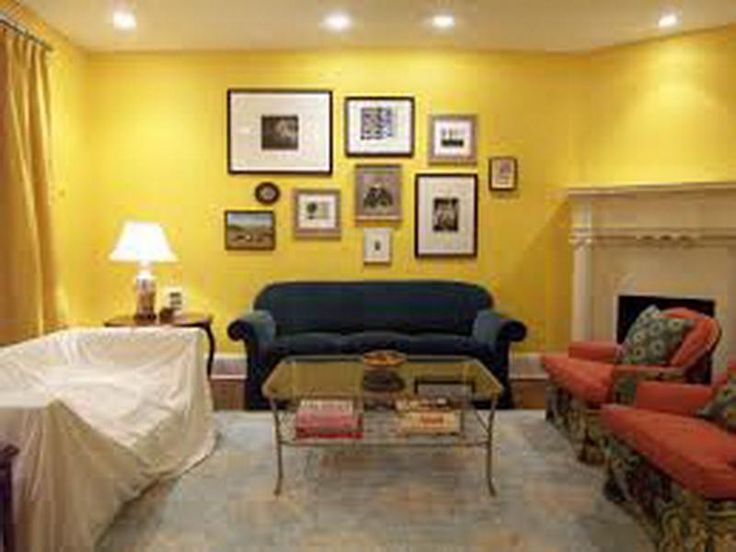Comfy Seating Area Paired With White Lighting Also Yellow Living Room Wall  Painting Idea