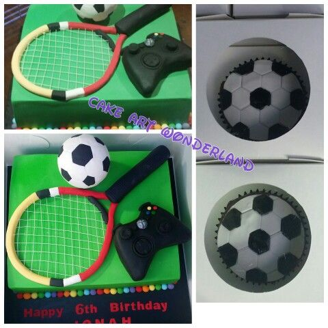 A cake full of Jonah's favourite things. The soccer ball, tennis racket & xbox controller cake toppers were edible except the wires. Also handpainted cupcakes to match for his school class friends. A challenging cake but loved the outcome.