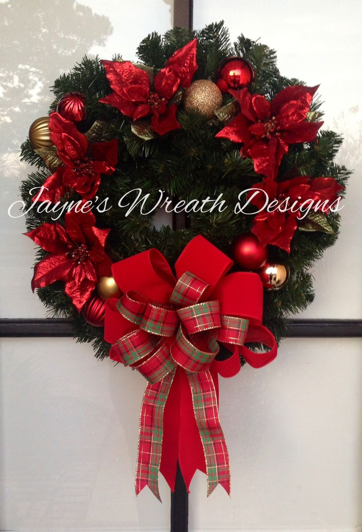 Traditional Classic Christmas Wreath with Poinsettias, Ornaments, and Plaid Bow