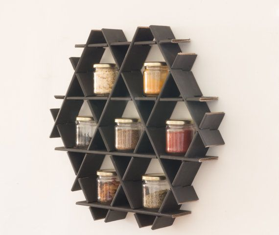 Wall Spice Rack Kitchen Shelves Spice Holder Jar by RucheShelving
