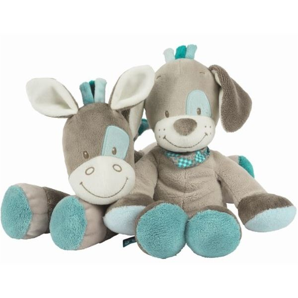 Dwa miłe, radosne pluszaki Gaston & Ciril od Nattou dla małych i większych dzieci