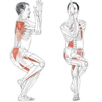 Garudasana -  Eagle Pose ---Increase balance and quadriceps strength. Such a pretty pose