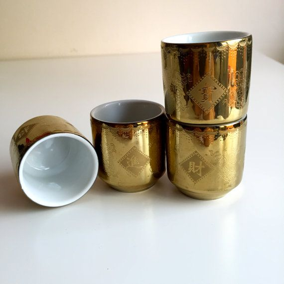 Four Golden Porcelain Sake cups, rice wine cups, Japanese kitchen, drinking accessories