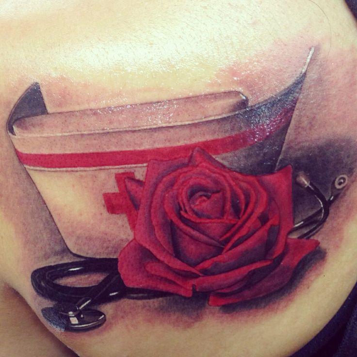 My nurse tattoo, done by the talented Danika at Newport tattoo  Nurse hat cap, stethoscope realistic rose