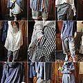 MLLE BLEUET : Veste redingote en lin bleu, pantalon rayé, chemise en coton, tee shirt en coton EWA IWALLA, chaussures RUNDHOLZ - Atelier des Ours.