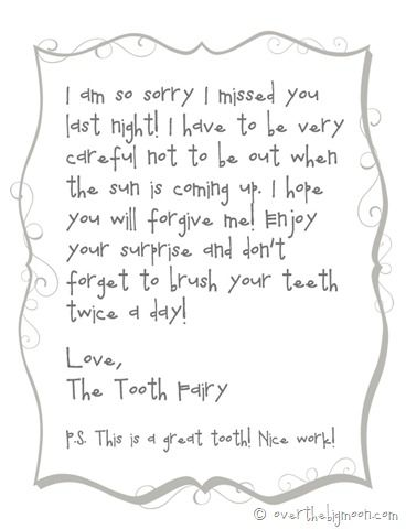 Forgettful tooth fairy free printable note   Over The Big Moon...Just printed this for my son. He lost another tooth and the tooth fairy was broke! lol