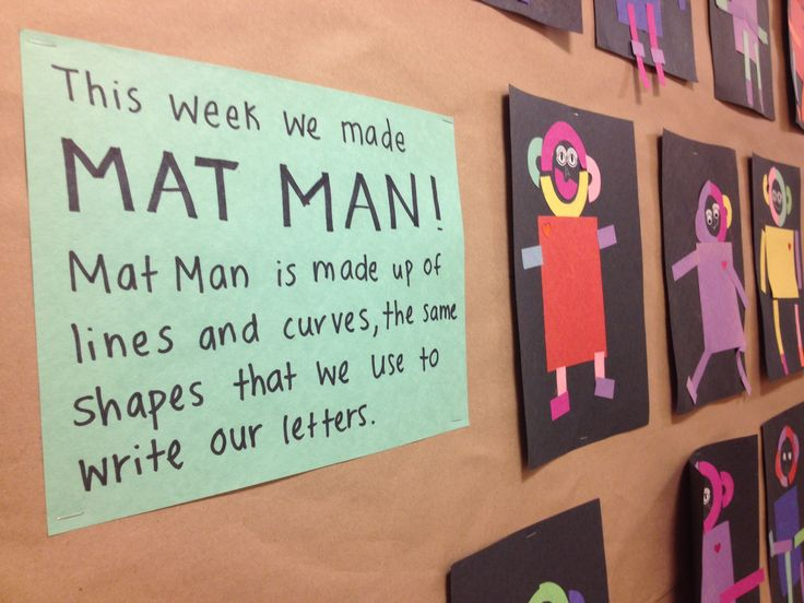 Mat Man art with construction paper pieces. Nice bulletin board description