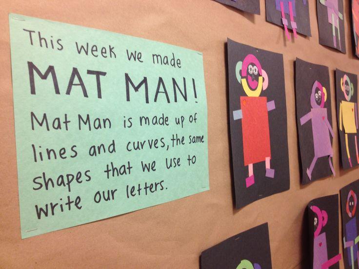 Mat Man art with construction paper pieces. Nice bulletin board description