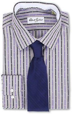 NWT ROBERT GRAHAM dress shirt 17 striped purple men's woven L/S